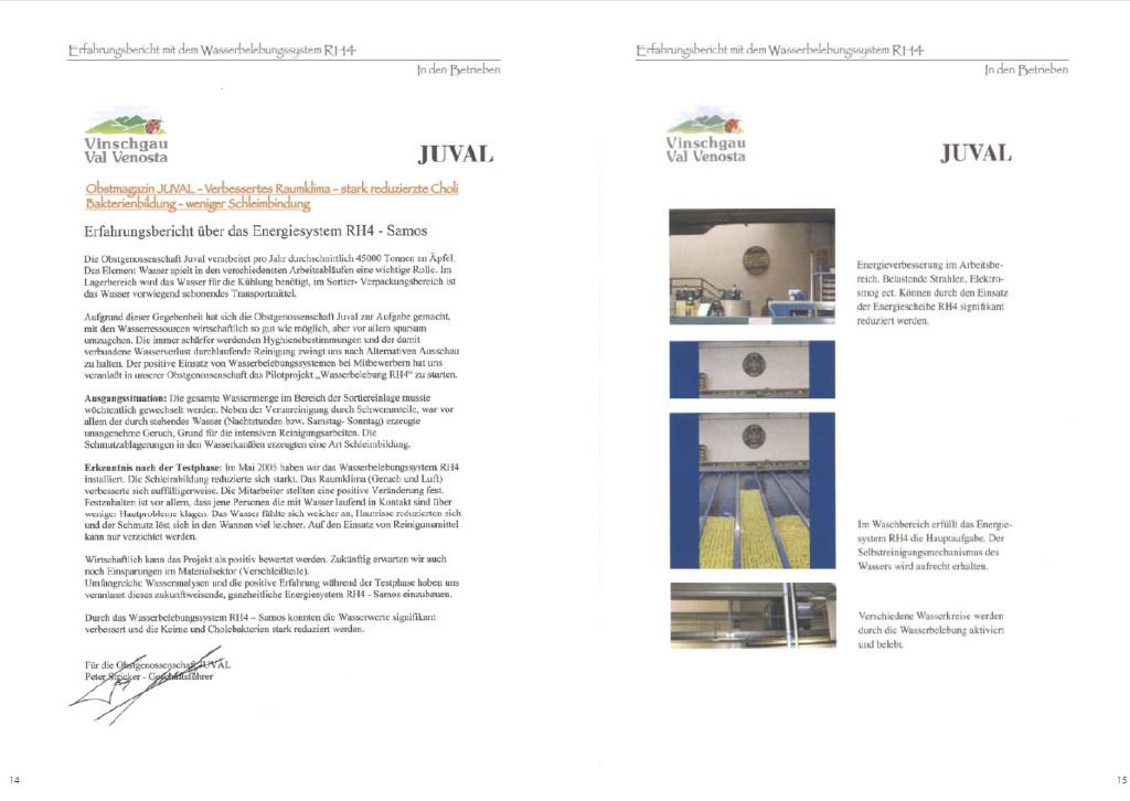 Erfahrungsbericht Wasserbelebung Obstgenossenschaft Juval